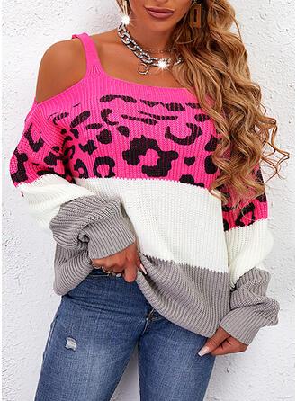 Nadruk Blok Koloru lampart Zimne ramię Nieformalny Swetry