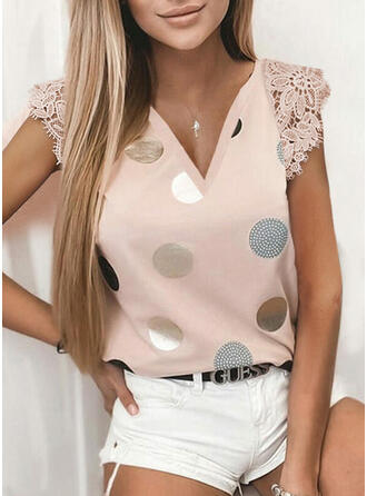Lace PolkaDot V-Neck Cap Sleeve Casual Blouses
