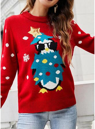 Damskie Nadruk Groszki Brzydki świąteczny sweter