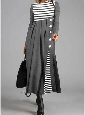 W paski Długie rękawy W kształcie litery A Łyżwiaż Casual Midi Sukienki