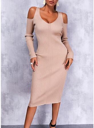 Jednolity Długie rękawy cold ramion rękaw Pokrowiec Nieformalny Midi Sukienki