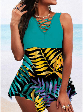 Tropical Print Cross Strap V-Neck Attractive Casual Swimdresses Swimsuits