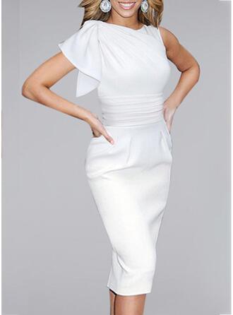Jednolita Krótkie rękawy Bodycon Mała czarna/Przyjęcie/Elegancki Midi Sukienki