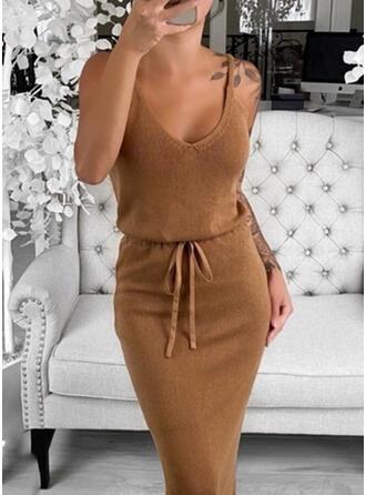 Jednolity Dekolt w kształcie litery V Długie Dopasowany Seksowny Sukienka sweterkowa