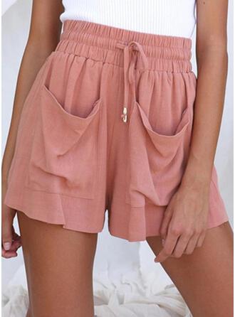 Jednolity Bielizna Nad kolanem Nieformalny Wakacyjna Duży rozmiar Pocket shirred drawstring Spodnie Szorty