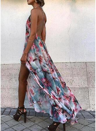 Nadrukowana/Kwiatowy/Bez pleców Bez rękawów W kształcie litery A Łyżwiaż Seksowna/Wakacyjna Maxi Sukienki