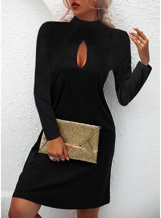 Jednolity Długie rękawy Suknie shift Nad kolana Mała czarna/Nieformalny Sukienki