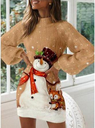 Nadruk Długie rękawy Pokrowiec Nad kolana Nieformalny Bluza Sukienki