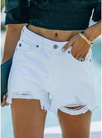 Jednolity Dżinsowa Seksowny Duży rozmiar Pocket Ripped nit Przycisk Spodnie Szorty Dżinsy