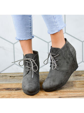 Women's Suede Wedge Heel Mid-Calf Boots Round Toe With Lace-up shoes