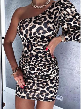 lampart Długie rękawy/Rękaw latarnia Bodycon Nad kolana Seksowna Sukienki