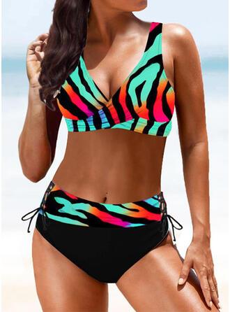 Nadruk Kolor splotu W prążki Dekolt w kształcie litery V Wintage Boho Bikini Stroje kąpielowe