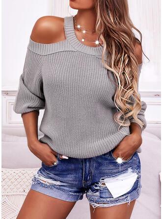 Jednolity Zimne ramię Nieformalny Swetry