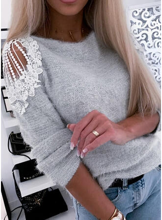 Jednolity Koronka Odkryte ramię Casual Swetry