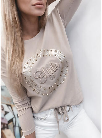 Beaded Figure Print Solid Round Neck Long Sleeves T-shirts