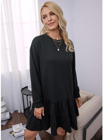 Jednolity Długie rękawy Dropped Shoulder Suknie shift Nad kolana Mała czarna/Nieformalny Tunika Sukienki