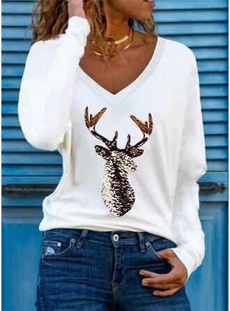 Nadruk Renifer Dekolt w kształcie litery V Długie rękawy T-shirty
