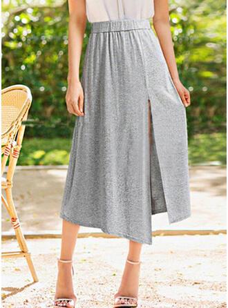 Cotton Plain Mid-Calf High-Slit Skirts A-Line Skirts