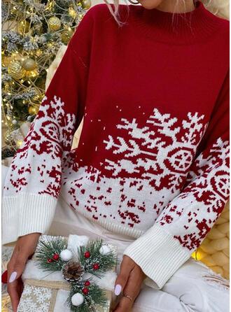 Boże Narodzenie Nadruk Blok Koloru Snowflake Prosty kołnierz Nieformalny Swetry