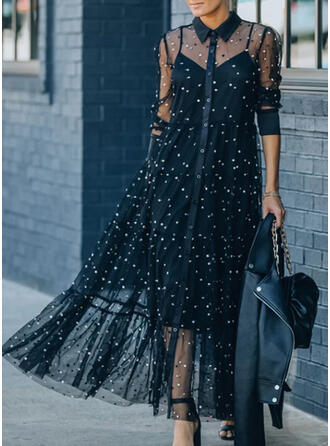 Lace/Solid/Beaded Long Sleeves A-line Skater Elegant Maxi Dresses