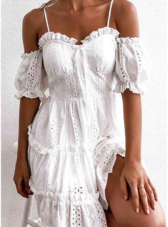 Jednolita Rękawy 1/2/Odkryte ramię W kształcie litery A Nad kolana Casual/Wakacyjna Sukienki