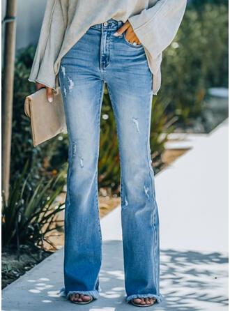 Jednolity Dżinsowa Długo Elegancki Zabytkowe Duży rozmiar Pocket Dżinsy
