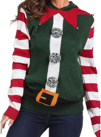 Damskie Poliester W paski Brzydki świąteczny sweter
