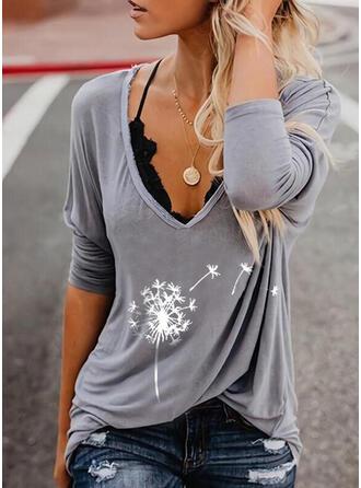 Mlecz Nadruk Dekolt w kształcie litery V Długie rękawy T-shirty