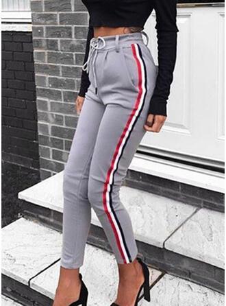 Duży rozmiar Sznurek do ściągacza Przycięte Nieformalny Seksowny sportieve Spodnie