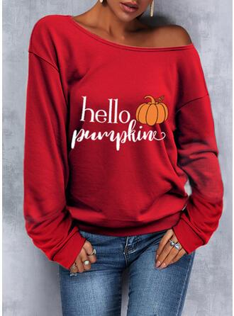 Halloween Nadruk Wytłaczany Na jedno ramię Długie rękawy Bluza