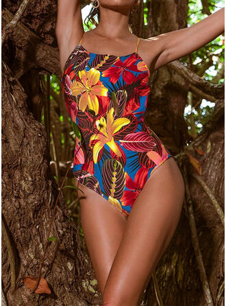 Floral Strap Fashionable Fresh Eye-catching One-piece Swimsuits