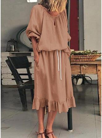 Jednolita Długie rękawy W kształcie litery A Łyżwiaż Mała czarna/Casual Midi Sukienki