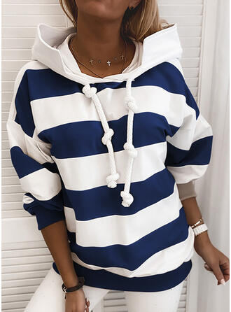 Blok Kolorów Prążki Bluza z kapturem Długie rękawy Casual T-shirty
