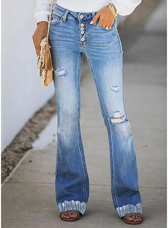 Jednolity Dżinsowa Długo Nieformalny Elegancki Pocket shirred Ripped Dżinsy