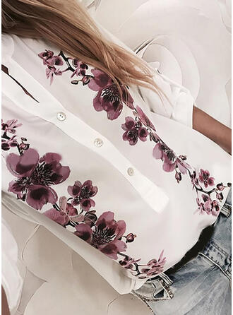 Nadruk Kwiatowy Okrągły dekolt Długie rękawy Casual Bluski koszulowe