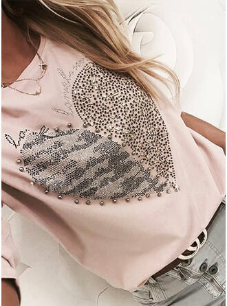 Beaded Figure Sequins Round Neck Long Sleeves T-shirts