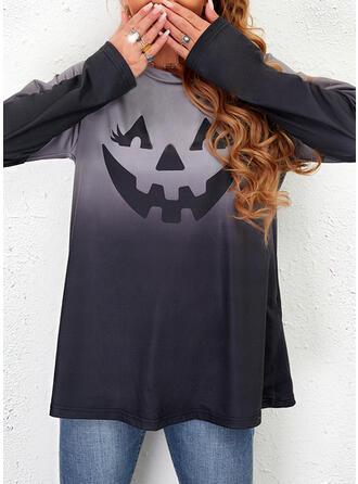 Halloween Nadruk Gradient Okrągły dekolt Długie rękawy Bluza