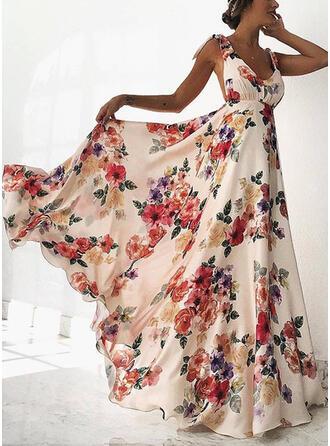 Nadrukowana/Kwiatowy Bez rękawów W kształcie litery A Seksowna/Przyjęcie/Wakacyjna Maxi Sukienki