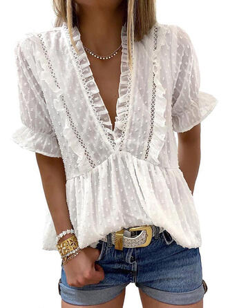 Solid V-Neck Short Sleeves Casual Elegant Blouses