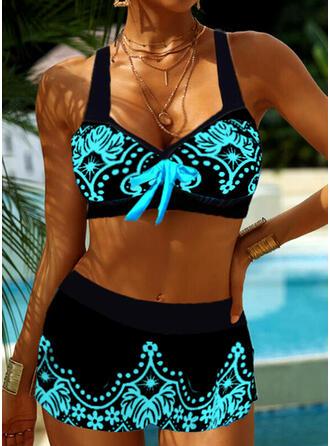 Nadruk Kwiatowy Pasek Dekolt w kształcie litery V Duży rozmiar Nieformalny Bikini Stroje kąpielowe