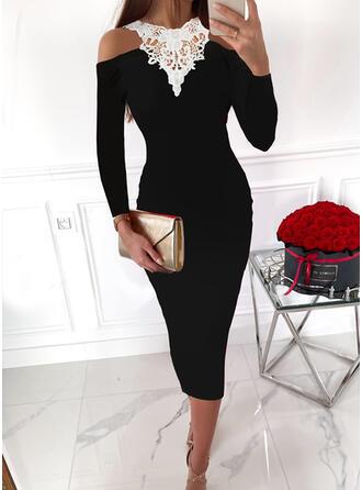 Blok Koloru Koronka Długie rękawy cold ramion rękaw Bodycon Ołówkowa Elegancki Midi Sukienki