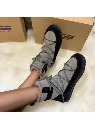 Dla kobiet Zamsz Płaski Obcas Round Toe Buty zimowe obuwie