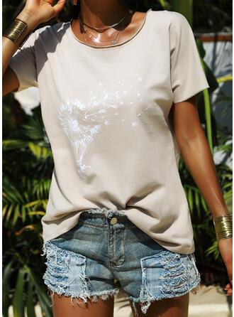 Nadruk Mlecz Okrągły dekolt Krótkie rękawy Casual T-shirty