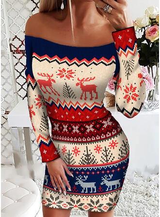 Boże Narodzenie Nadruk/Zwierzę Długie rękawy Pokrowiec Nad kolana Nieformalny Sukienki