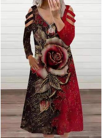 Nadruk/Kwiatowy Długie rękawy cold ramion rękaw Suknie shift Tunika Nieformalny Midi Sukienki