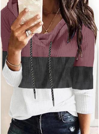 Blok Koloru Długie rękawy Bluza z kapturem