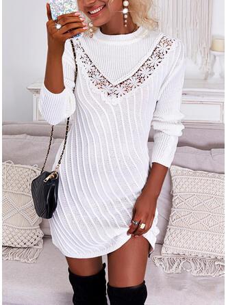 Jednolity Koronka Długie rękawy Suknie shift Nad kolana Nieformalny Sweter Sukienki