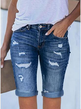 Jednolity Dżinsowa Nad kolanem Nieformalny Duży rozmiar Biuro / Biznes Pocket Ripped Szorty Dżinsy