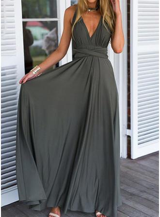 Bez rękawów W kształcie litery A Przyjęcie Maxi Sukienki