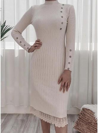Koronka/Jednolita Długie rękawy Pokrowiec Sweter Casual Midi Sukienki
